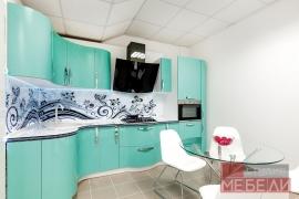 Бирюзовая кухня с фотоскинали